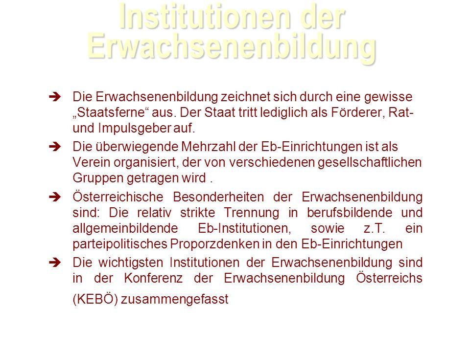Institutionen der Erwachsenenbildung Die Erwachsenenbildung zeichnet sich durch eine gewisse Staatsferne aus.