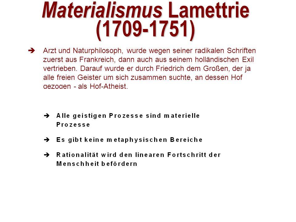 Materialismus Lamettrie (1709-1751) Arzt und Naturphilosoph, wurde wegen seiner radikalen Schriften zuerst aus Frankreich, dann auch aus seinem holländischen Exil vertrieben.