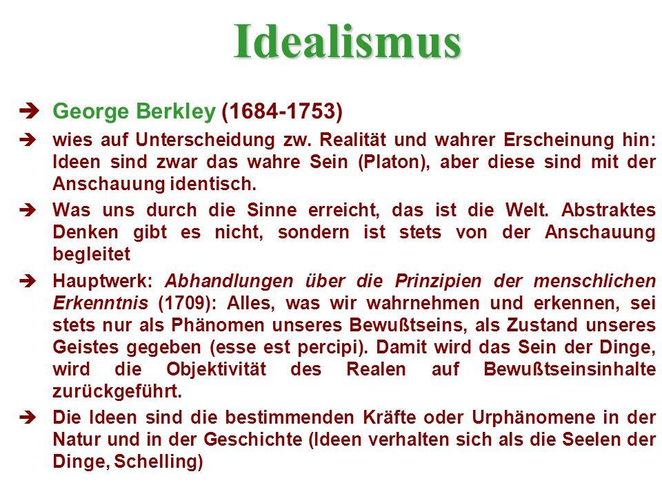 Idealismus George Berkley (1684-1753) wies auf Unterscheidung zw.