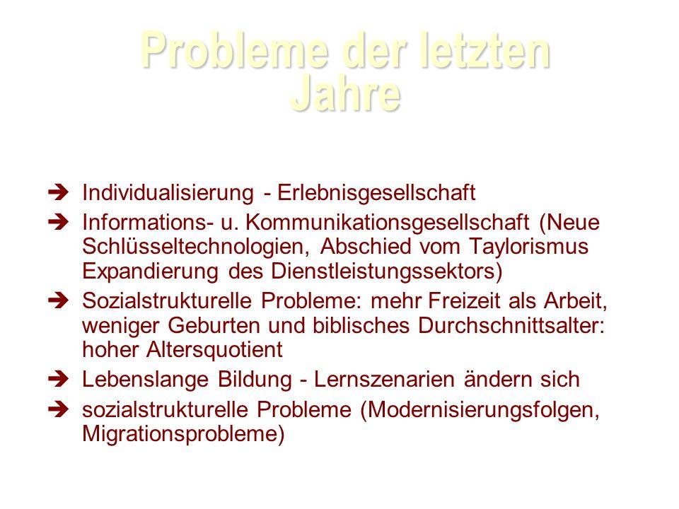 Probleme der letzten Jahre Individualisierung - Erlebnisgesellschaft Informations- u.