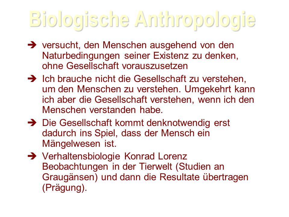 Biologische Anthropologie versucht, den Menschen ausgehend von den Naturbedingungen seiner Existenz zu denken, ohne Gesellschaft vorauszusetzen Ich brauche nicht die Gesellschaft zu verstehen, um den Menschen zu verstehen.