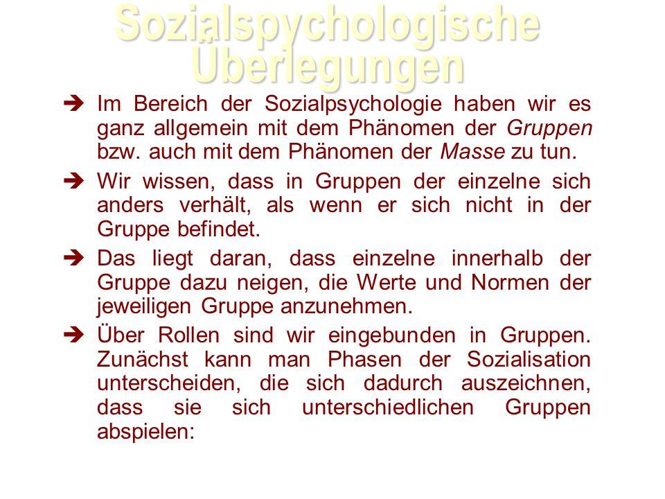 Sozialspychologische Überlegungen Im Bereich der Sozialpsychologie haben wir es ganz allgemein mit dem Phänomen der Gruppen bzw.