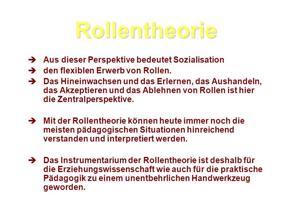 Rollentheorie Aus dieser Perspektive bedeutet Sozialisation den flexiblen Erwerb von Rollen.