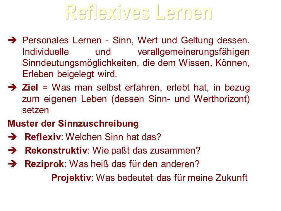 Reflexives Lernen Personales Lernen - Sinn, Wert und Geltung dessen.