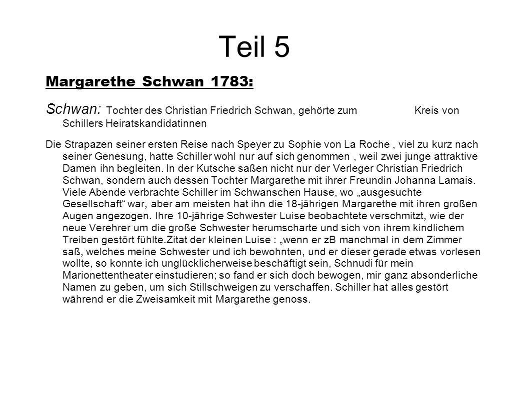 Teil 5 Margarethe Schwan 1783: Schwan: Tochter des Christian Friedrich Schwan, gehörte zum Kreis von Schillers Heiratskandidatinnen Die Strapazen sein