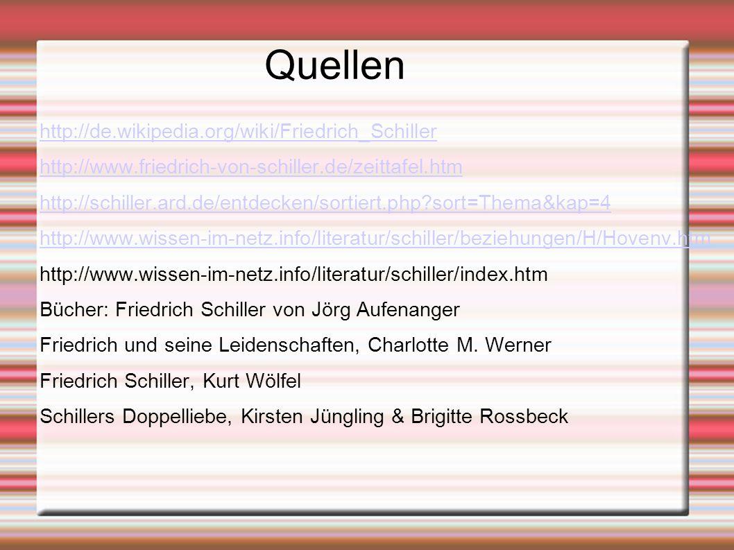Quellen http://de.wikipedia.org/wiki/Friedrich_Schiller http://www.friedrich-von-schiller.de/zeittafel.htm http://schiller.ard.de/entdecken/sortiert.p