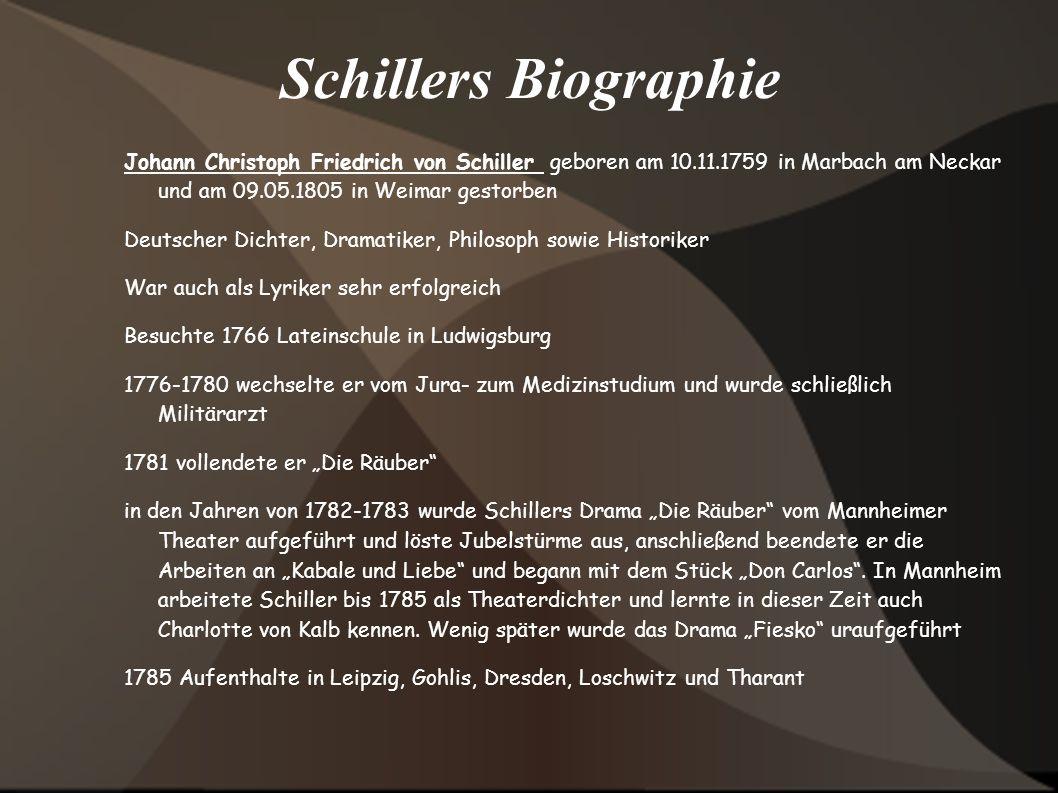 Schillers Biographie Johann Christoph Friedrich von Schiller geboren am 10.11.1759 in Marbach am Neckar und am 09.05.1805 in Weimar gestorben Deutsche