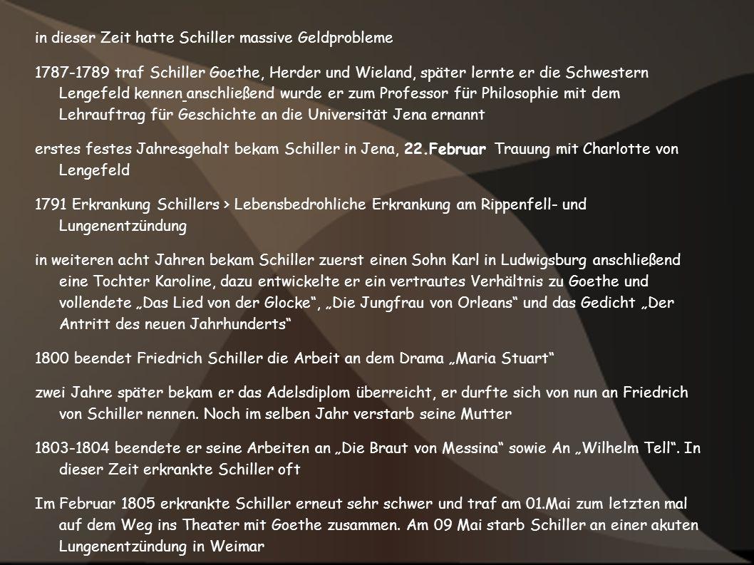 in dieser Zeit hatte Schiller massive Geldprobleme 1787-1789 traf Schiller Goethe, Herder und Wieland, später lernte er die Schwestern Lengefeld kenne