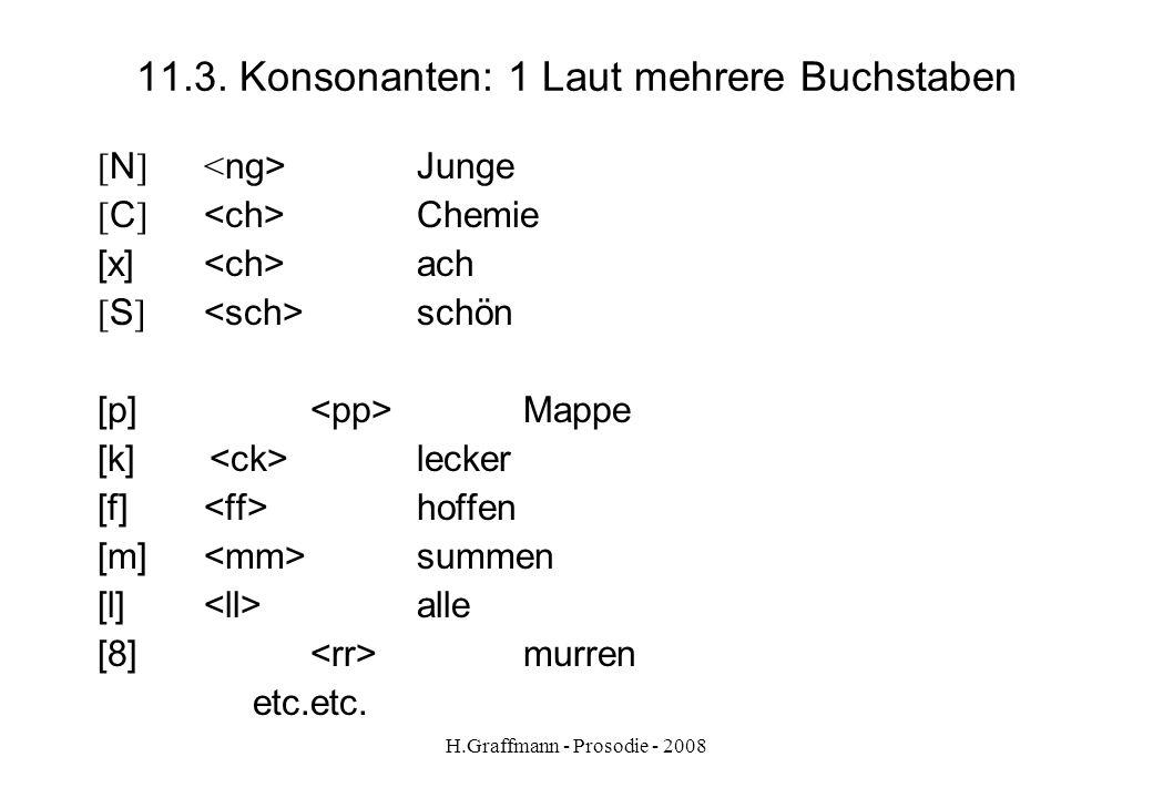 H.Graffmann - Prosodie - 2008 11.2.3. Konsonanten und Schreibweise. [ m ] Baum Lamm [ n ] Nase Mann [ N ] vor kFinger Bank [ l ] lachen hell [ r ] rot