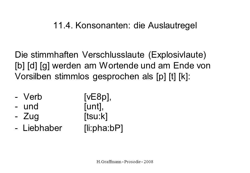 H.Graffmann - Prosodie - 2008 11.3. Konsonanten: 1 Laut mehrere Buchstaben [ N ] Junge [ C ] Chemie [x] ach [ S ] schön [p] Mappe [k] lecker [f] hoffe