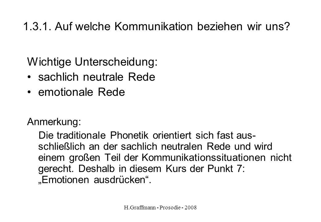 H.Graffmann - Prosodie - 2008 1.3.Auf welche Kommunikation beziehen wir uns.