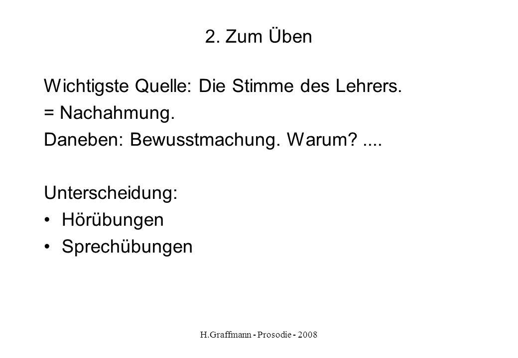 H.Graffmann - Prosodie - 2008 1.3.1. Auf welche Kommunikation beziehen wir uns? Wichtige Unterscheidung: sachlich neutrale Rede emotionale Rede Anmerk