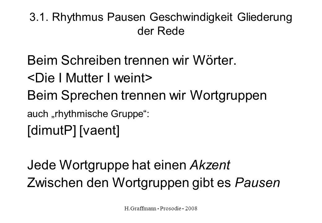 H.Graffmann - Prosodie - 2008 2.1. Zum Üben: Sprechen Nachsprechen Drillübung Minimalpaare Arbeit am Text: - Rhythmus - Gliederung - Melodie - Laute