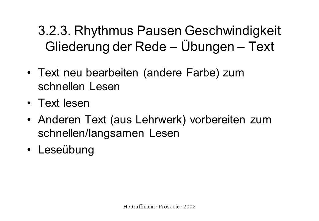 H.Graffmann - Prosodie - 2008 3.2.2. Rhythmus Pausen Geschwindigkeit Gliederung der Rede – Übungen – Text Ich heiße | Dominik. | Ich bin | in Südfrank