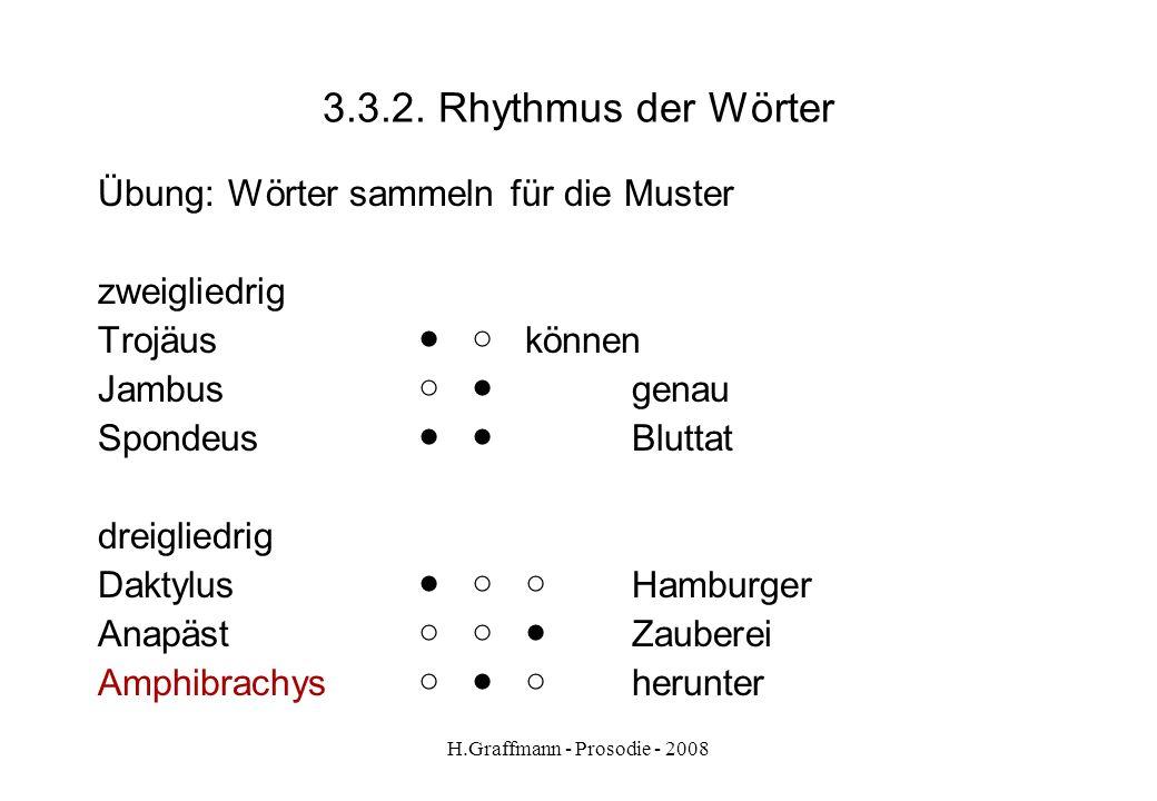 H.Graffmann - Prosodie - 2008 3.3.1. Rhythmus der Wörter Januar Übung Februar - sortieren: gleiches Muster März - laut lesen April Mai Juni Juli Augus