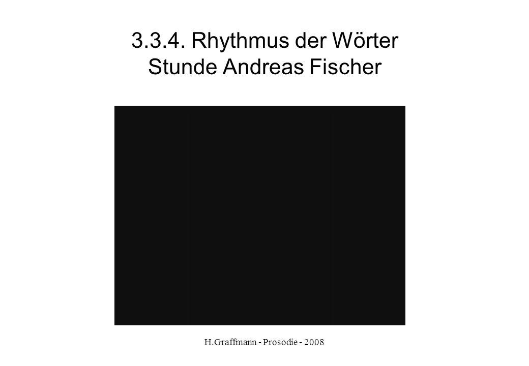 H.Graffmann - Prosodie - 2008 3.3.3. Rhythmus der Wörter/rhythmische Gruppen Viergliedrige rhythmische Gruppen Übung aus Optimal A2 S. 11 Hören Sie un