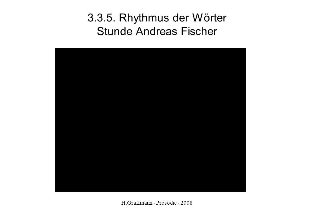 H.Graffmann - Prosodie - 2008 3.3.4. Rhythmus der Wörter Stunde Andreas Fischer