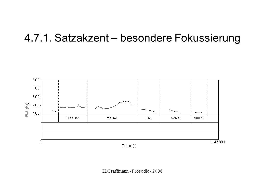 H.Graffmann - Prosodie - 2008 4.7. Satzakzent – Kontrastakzent besondere Fokussierung Äußerungsakzente stehen meist in der letzten Hälfte des Satzes.
