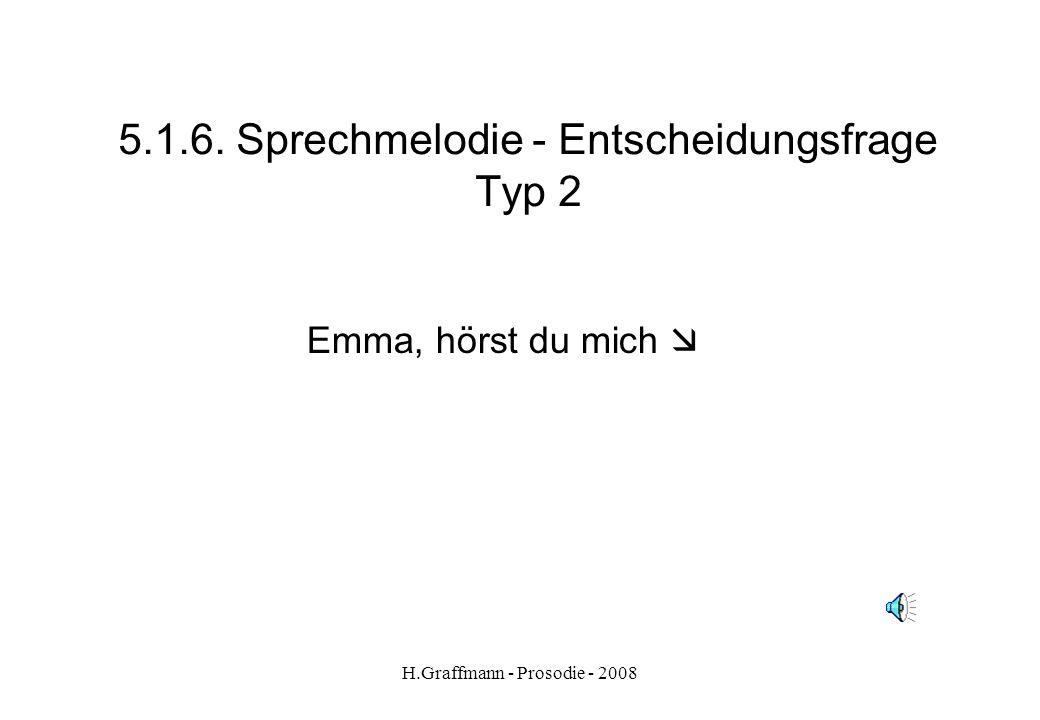 H.Graffmann - Prosodie - 2008 5.1.5. Sprechmelodie - Entscheidungsfrage Typ 1 Beispiel 2