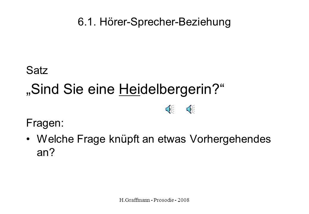 H.Graffmann - Prosodie - 2008 5.1.8. Sprechmelodie - Satzarten Aussagesatz Die Unruhe haben sie einem Mörder zu verdanken. Wunschsatz Auf gute Zusamme