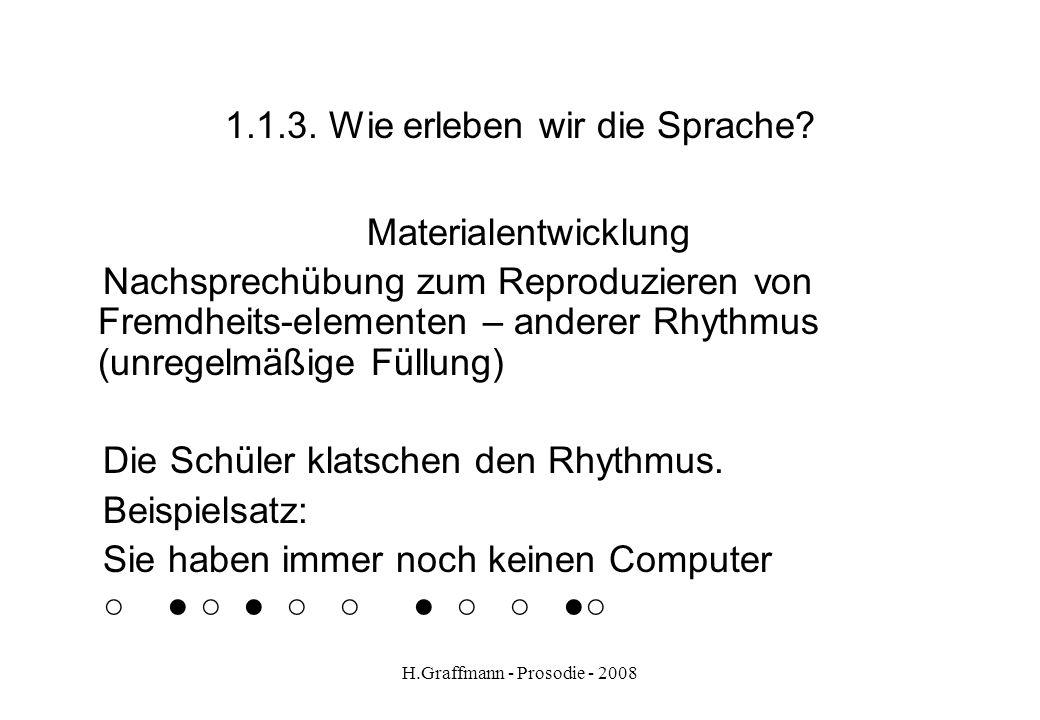 H.Graffmann - Prosodie - 2008 1.1.2. Wie erleben wir die Sprache? Materialentwicklung Nachsprechübung zum Reproduzieren von Fremdheitselementen – Them