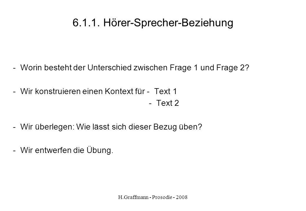 H.Graffmann - Prosodie - 2008 6.1. Hörer-Sprecher-Beziehung Satz Sind Sie eine Heidelbergerin? Fragen: Welche Frage knüpft an etwas Vorhergehendes an?