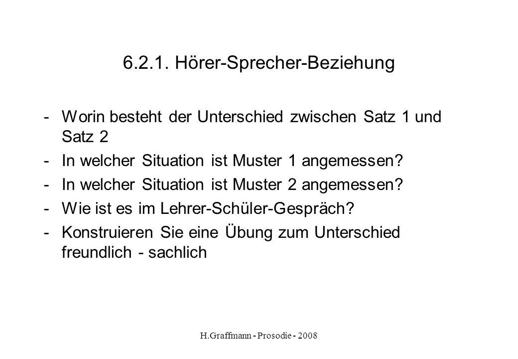 H.Graffmann - Prosodie - 2008 6.2. Hörer-Sprecher-Beziehung Satz Wo haben Sie denn Ihr Auto geparkt? Welcher der Sätze klingt - sachlich, distanziert