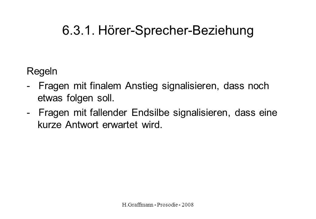 H.Graffmann - Prosodie - 2008 6.3.Hörer-Sprecher-Beziehung Nach Peters in Dudengrammatik S.113 1.