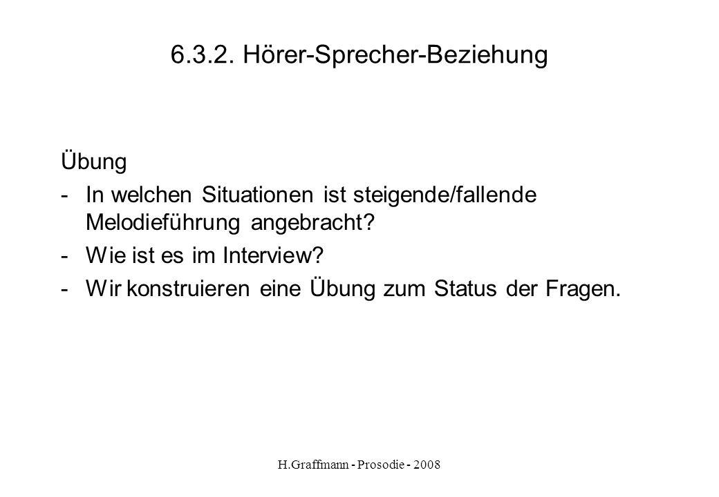 H.Graffmann - Prosodie - 2008 6.3.1. Hörer-Sprecher-Beziehung Regeln - Fragen mit finalem Anstieg signalisieren, dass noch etwas folgen soll. - Fragen