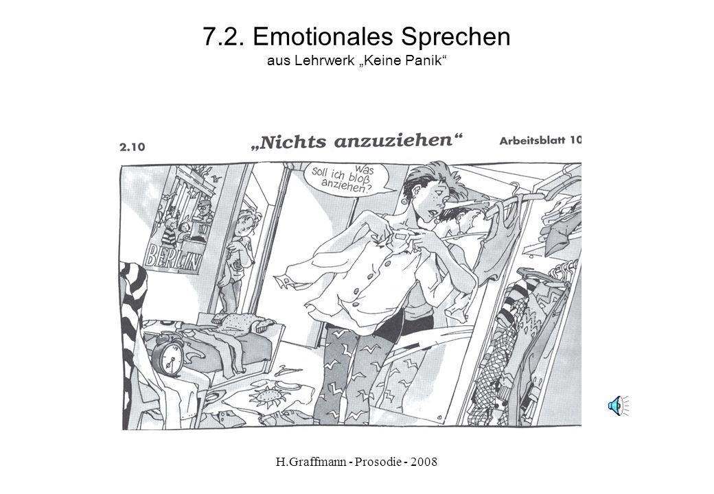 H.Graffmann - Prosodie - 2008 7.2. Emotionales Sprechen N: Mama, wo ist mein rotes T-Shirt? M. Rotes T-Shirt? N: Ja.. M: Meinst du das hier? N: Ja! Da