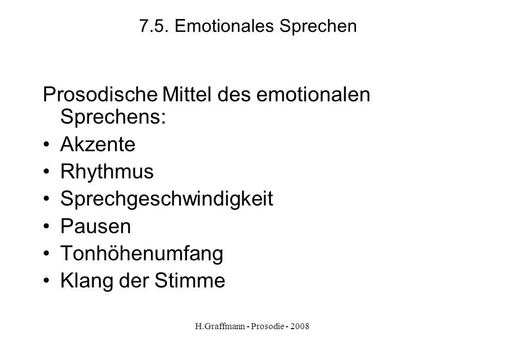 H.Graffmann - Prosodie - 2008 7.4. Emotionales Sprechen Beispiel aus Lehrwerk Aus Optimal A2 S. 91 Hochzeitsvorbereitung Für die Hochzeit möchte ich g