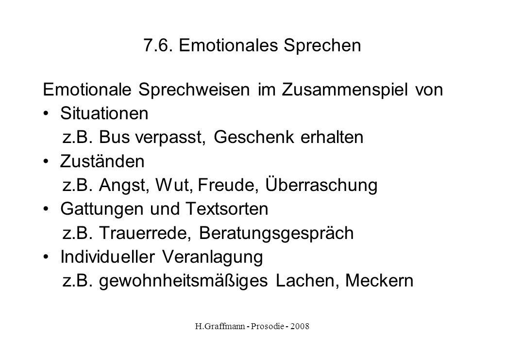 H.Graffmann - Prosodie - 2008 7.5. Emotionales Sprechen Prosodische Mittel des emotionalen Sprechens: Akzente Rhythmus Sprechgeschwindigkeit Pausen To