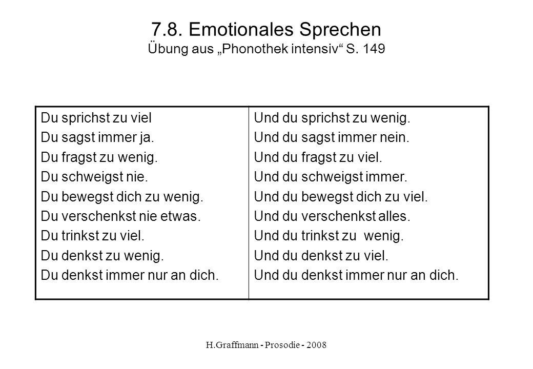 H.Graffmann - Prosodie - 2008 7.7. Emotionales Sprechen Übung Kleingruppenarbeit (3 – 4 Personen) Definition einer Kommunikation über die Kategorien S