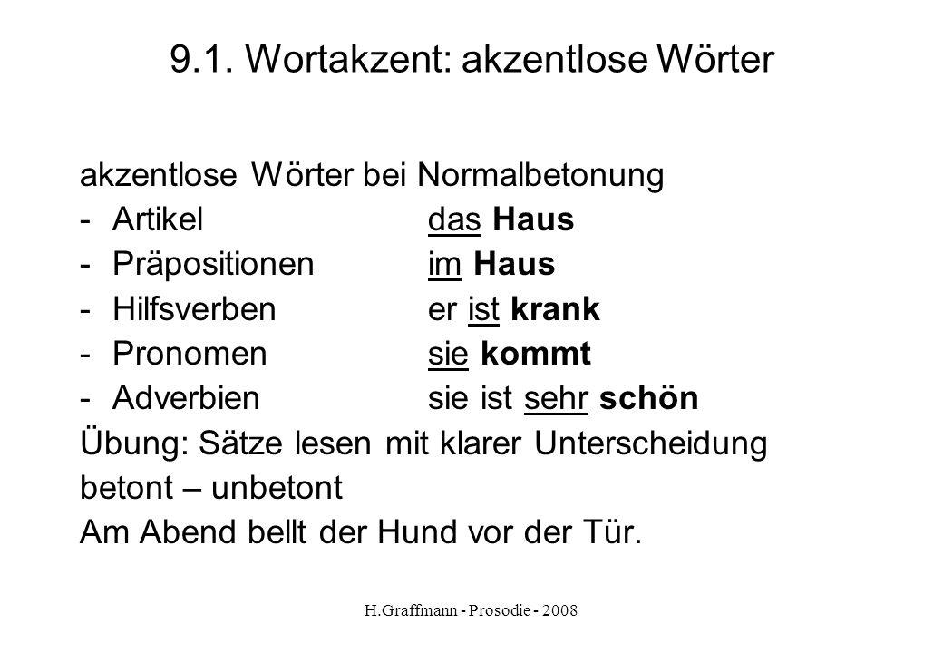 H.Graffmann - Prosodie - 2008 7.9. Emotionales Sprechen Beispiele für Sprechanweisungen im Unterricht aus Reinke Lies ganz laut! Lies ganz leise! Lies