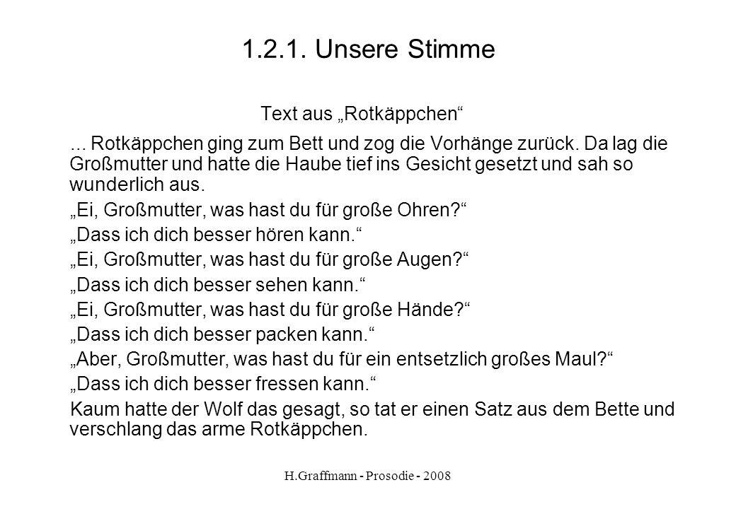 H.Graffmann - Prosodie - 2008 1.1.4. Wie erleben wir die Sprache? Materialentwicklung Nachsprechübung zum Reproduzieren von Fremdheits- elementen – la