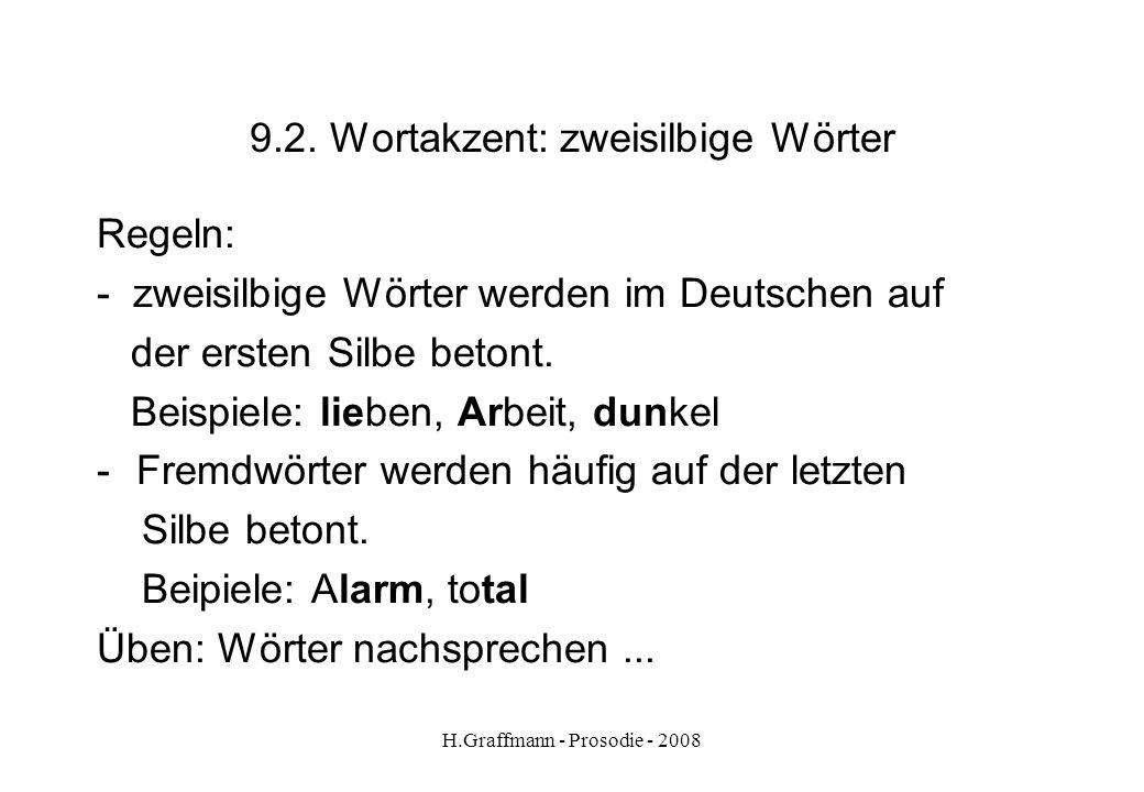 H.Graffmann - Prosodie - 2008 9.1. Wortakzent: akzentlose Wörter akzentlose Wörter bei Normalbetonung -Artikel das Haus -Präpositionenim Haus -Hilfsve