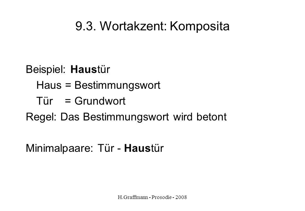 H.Graffmann - Prosodie - 2008 9.2. Wortakzent: zweisilbige Wörter Regeln: - zweisilbige Wörter werden im Deutschen auf der ersten Silbe betont. Beispi