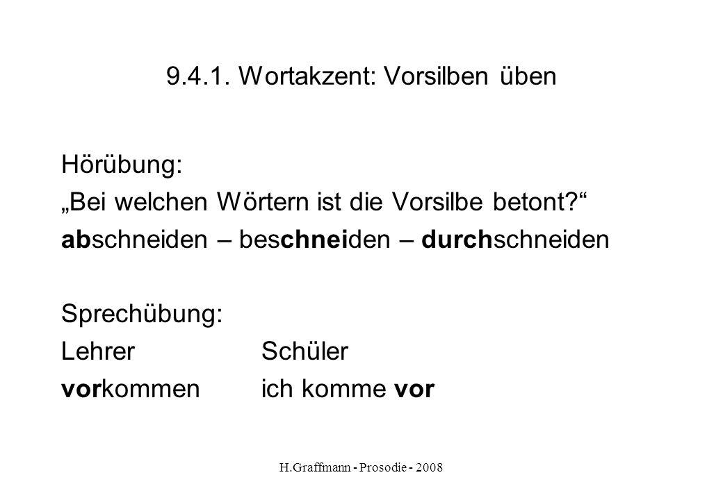 H.Graffmann - Prosodie - 2008 9.4. Wortakzent: Vorsilben Wichtige Unterscheidung: abtrennbare Vorsilben nicht abtrennbare Vorsilben Vorsilben, die man
