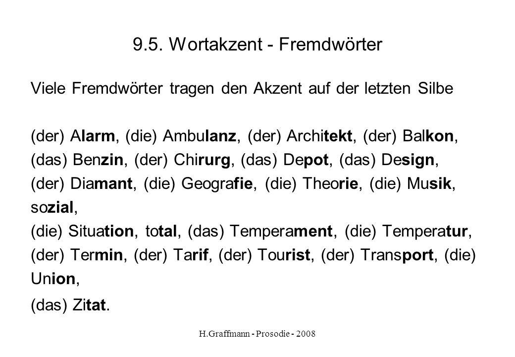 H.Graffmann - Prosodie - 2008 9.4.2. Wortakzent – Vorsilben bei Substantiven Die Regel der abtrennbaren Vorsilben gilt auch für Substantive (der) Abse