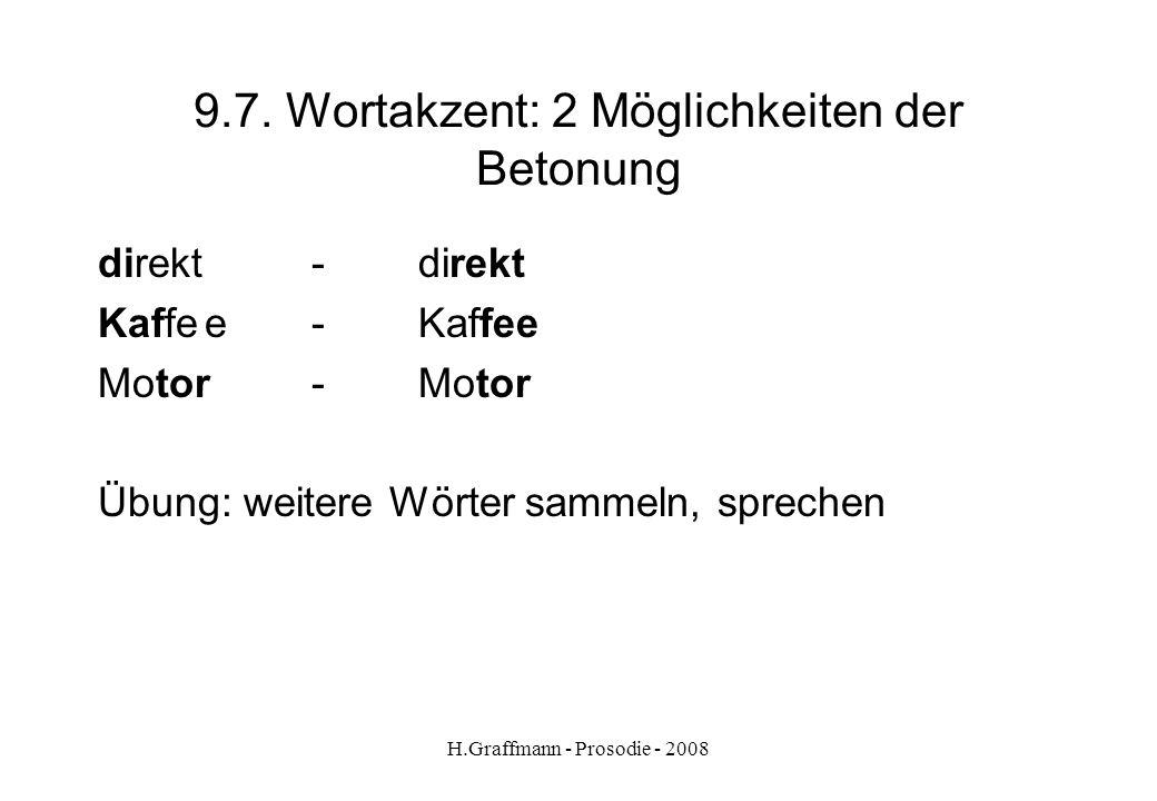 H.Graffmann - Prosodie - 2008 9.6. Wortakzent. Akzentverschiebungen im Plural (der) Direktor, (der) Inspektor, (der) Atlas) Mit Nachsilbe (der) Bäcker