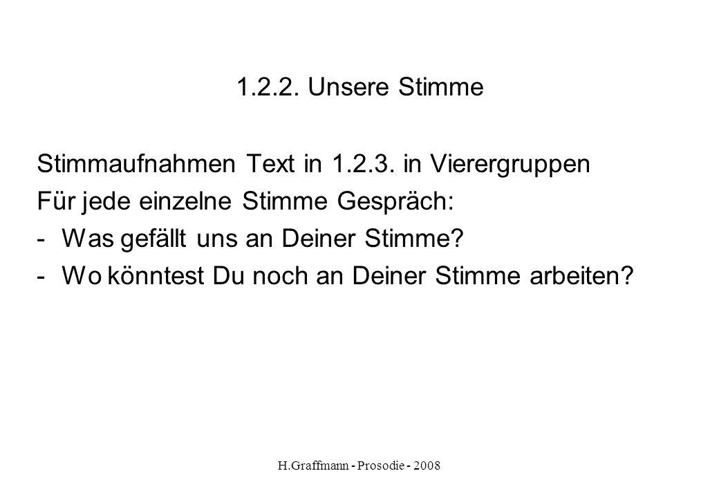 H.Graffmann - Prosodie - 2008 1.2.1. Unsere Stimme Text aus Rotkäppchen... Rotkäppchen ging zum Bett und zog die Vorhänge zurück. Da lag die Großmutte