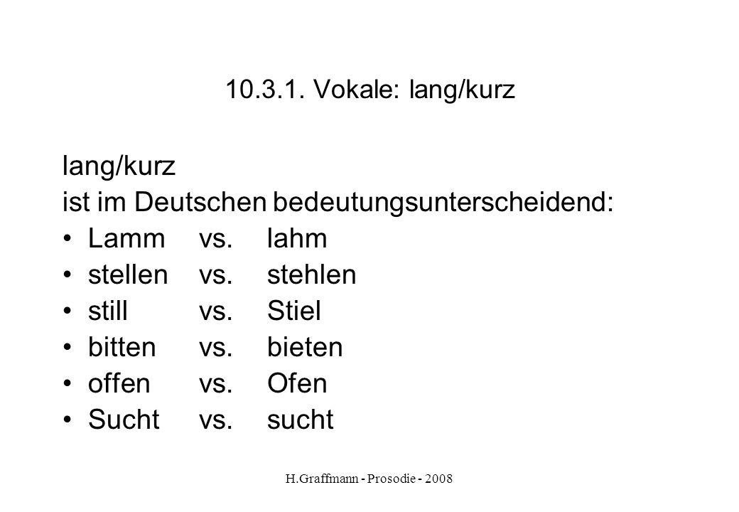 H.Graffmann - Prosodie - 2008 deutschspanisch 10.2. Vokalvierecke lI e a o u E / E: e: i / i:U/u:U/u: o: O ( a A: y / y: / K o