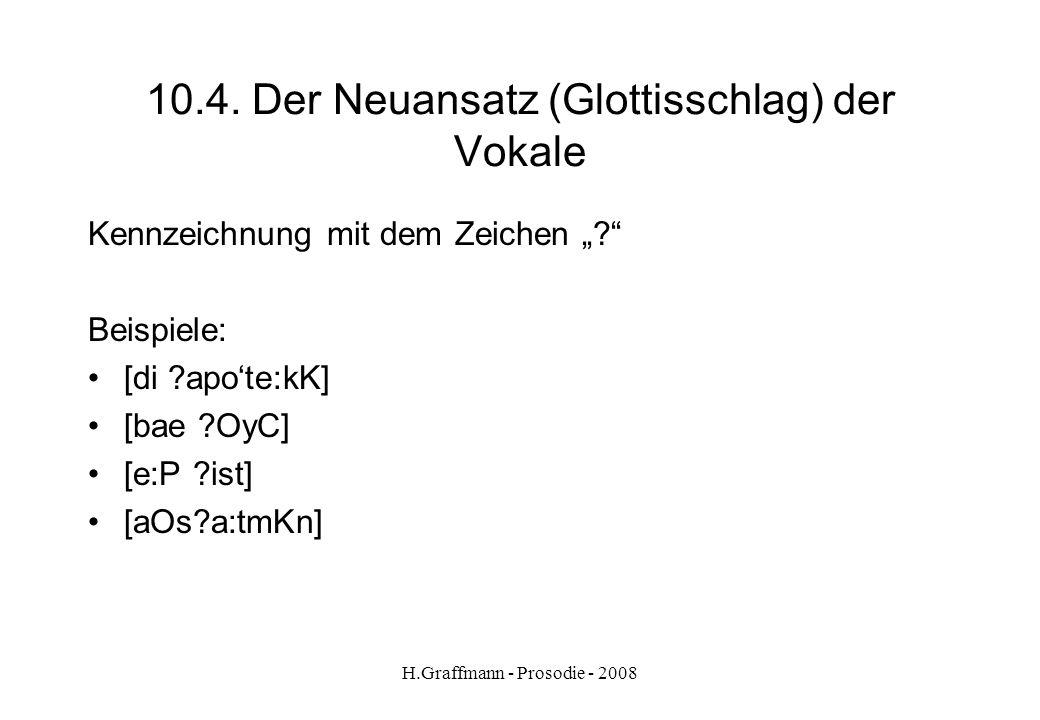 H.Graffmann - Prosodie - 2008 10.3.2. Vokale: Längung - Kürzung Vokale sind lang in offener Silbeloben bei Doppelschreibungleer mit Dehnungs-hroh i mi