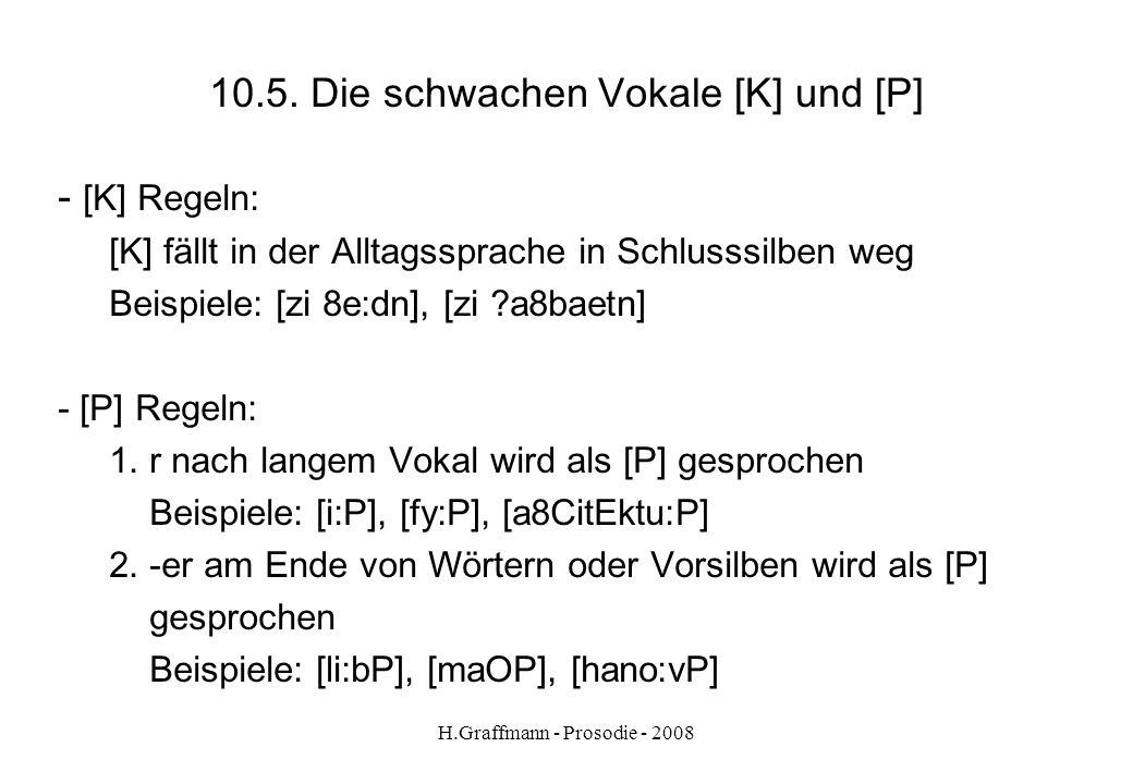 H.Graffmann - Prosodie - 2008 10.4. Der Neuansatz (Glottisschlag) der Vokale Kennzeichnung mit dem Zeichen ? Beispiele: [di ?apote:kK] [bae ?OyC] [e:P