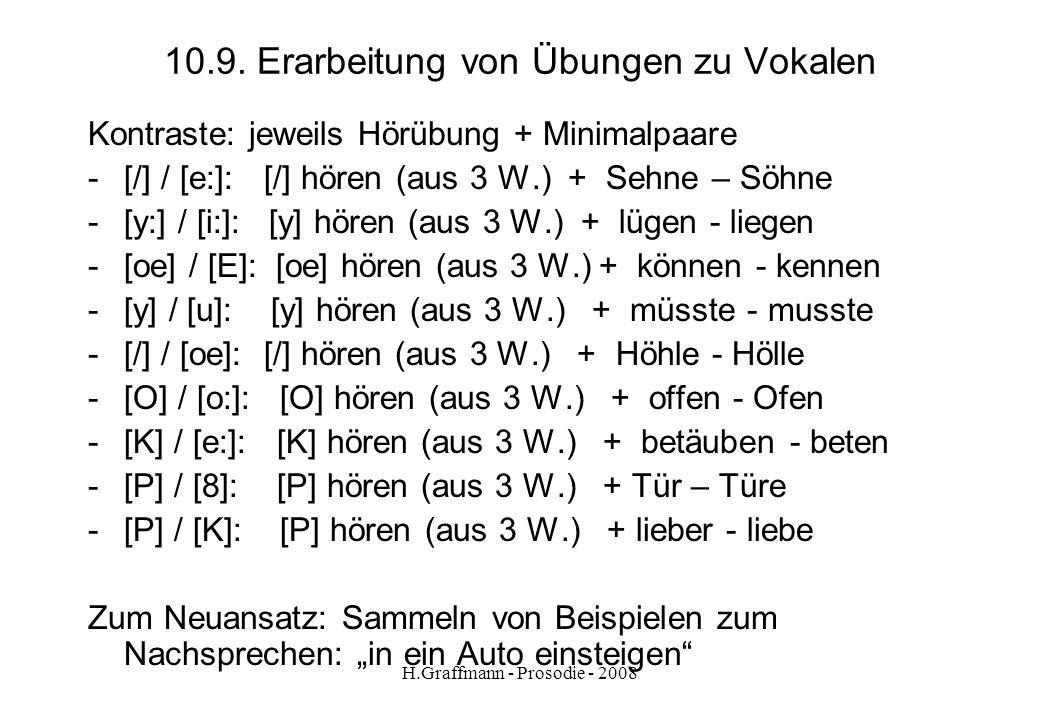 H.Graffmann - Prosodie - 2008 10.7. Übungsthemen Vokale Übungen zum Neueinsatz (Glottisschlag) lang / kurz e-Laute O / ( y: y schwache Laute K P