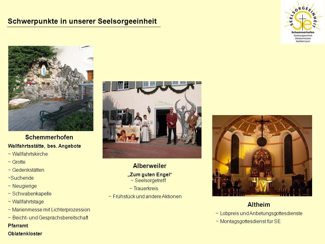 Schwerpunkte in unserer Seelsorgeeinheit Schemmerhofen Wallfahrtsstätte, bes. Angebote ~ Wallfahrtskirche ~ Grotte ~ Gedenkstätten ~Suchende ~ Neugier