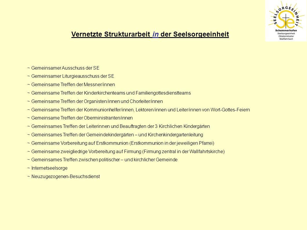 Vernetzte Strukturarbeit in der Seelsorgeeinheit ~ Gemeinsamer Ausschuss der SE ~ Gemeinsamer Liturgieausschuss der SE ~ Gemeinsame Treffen der Messne