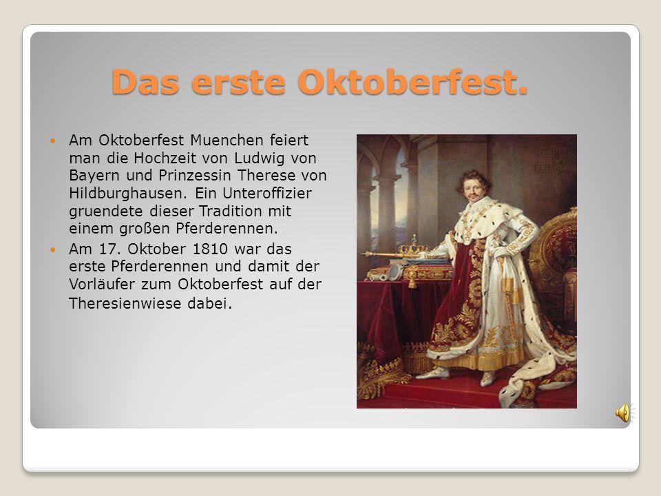 Das erste Oktoberfest. Das erste Oktoberfest. Am Oktoberfest Muenchen feiert man die Hochzeit von Ludwig von Bayern und Prinzessin Therese von Hildbur