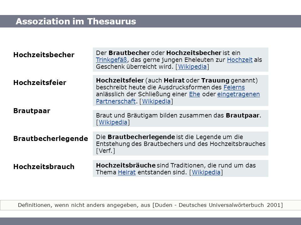Assoziation im Thesaurus Definitionen, wenn nicht anders angegeben, aus [Duden - Deutsches Universalwörterbuch 2001] Assoziation im Thesaurus Hochzeit