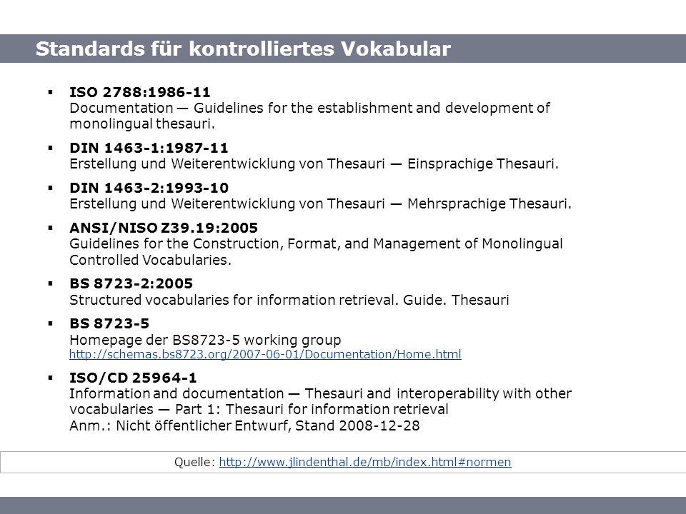 Standards für kontrolliertes Vokabular Quelle: http://www.jlindenthal.de/mb/index.html#normenhttp://www.jlindenthal.de/mb/index.html#normen ISO 2788:1